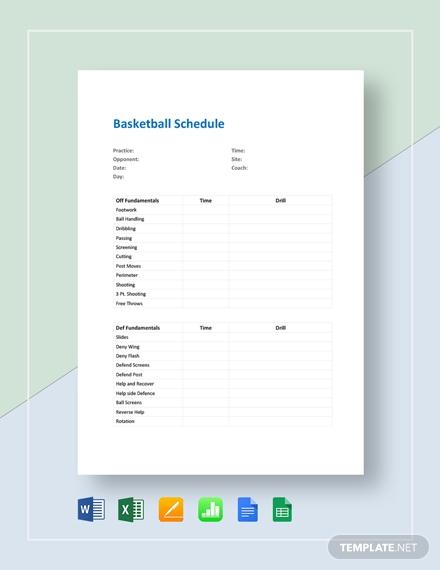 basketball schedule template