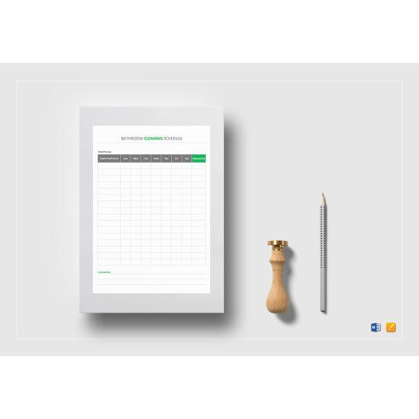 bathroom cleaning schedule planner template