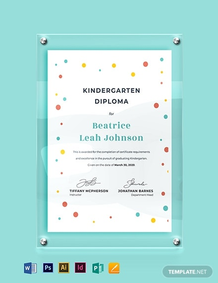 beautiful kindergarten diploma certificate example