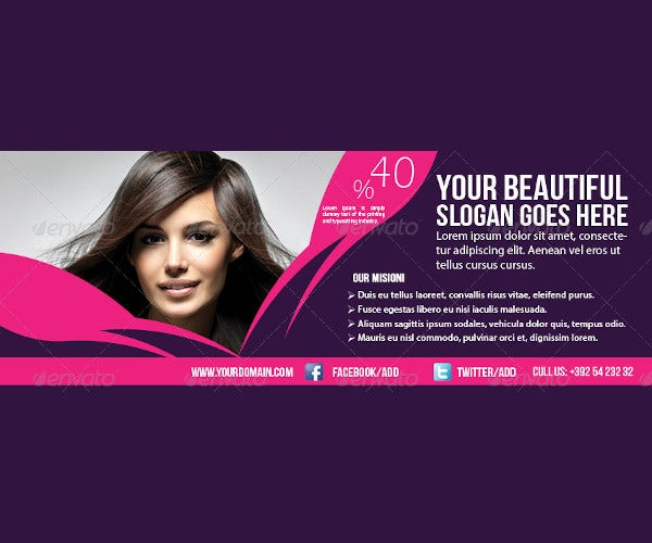 Beauty Salon Hairdresser Banner Design