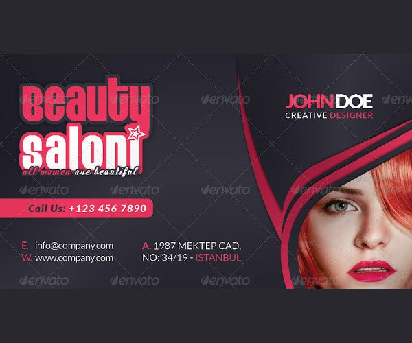 beauty salon business card face timeline