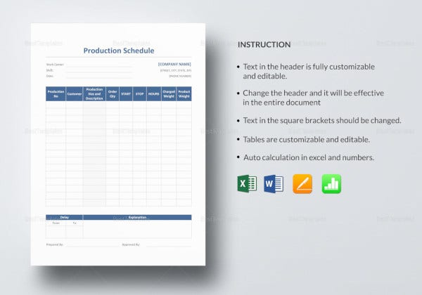best-production-schedule-template