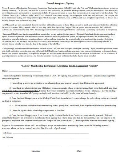 binding acceptance agreement sample