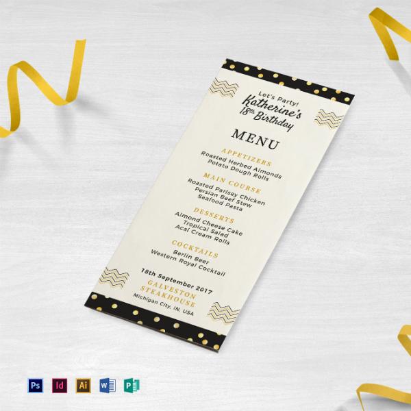 birthday party dinner menu example