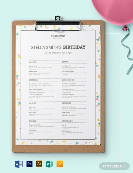 birthday party restaurant menu format