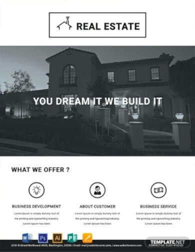 black and white real estate flyer template