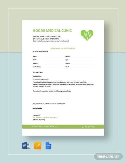 blank doctor note template