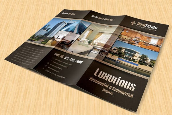 blue and green real estate trifold brochure template