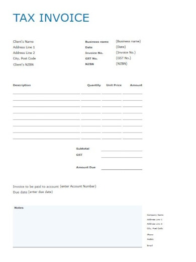 blue and white editable tax invoice template