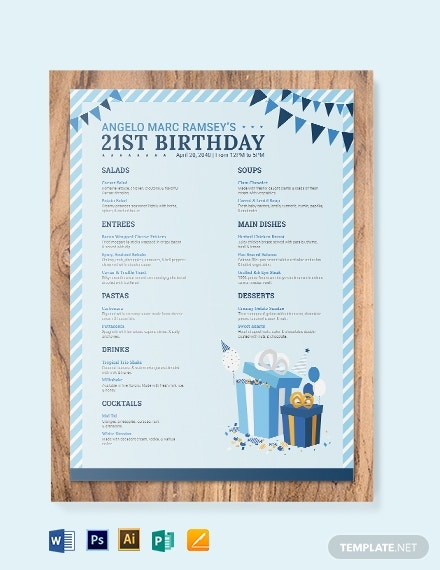 blue birthday menu template
