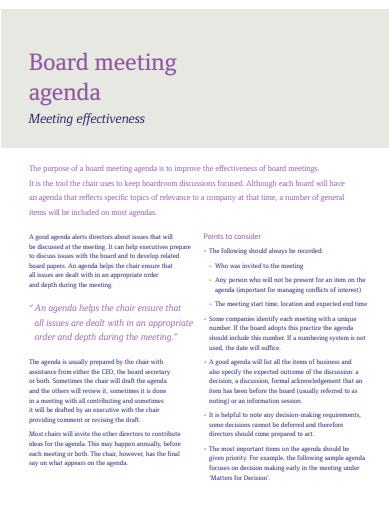 board meeting agenda in pdf