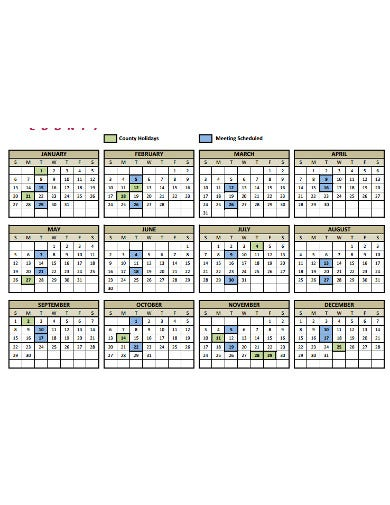 board meeting calendar example