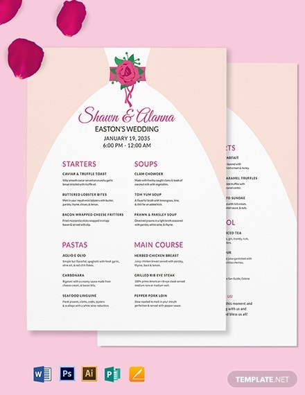 bride wedding menu template