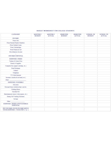 budget worksheets for college students