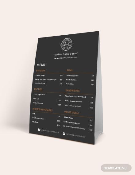 burger table tent menu template