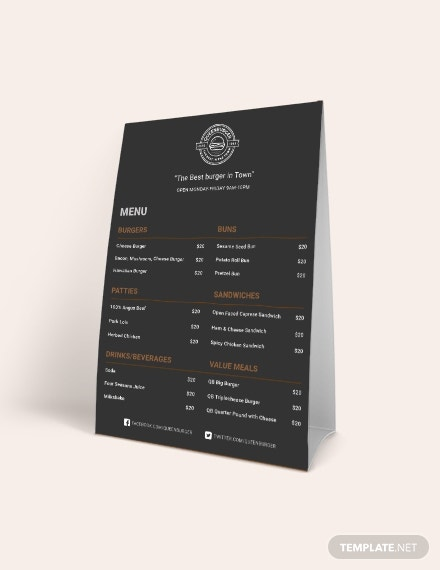 burger table tent menu template1