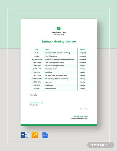 business meeting itinerary template
