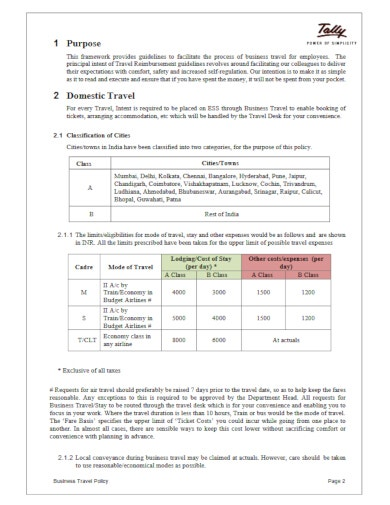 10+ Corporate Travel Policy Templates - DOC, PDF   Free ...