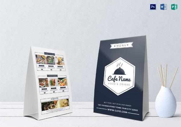 cafe menu 2 table tent