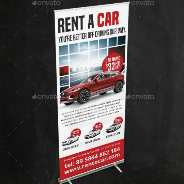Car Rental Business Roll-Up Banner