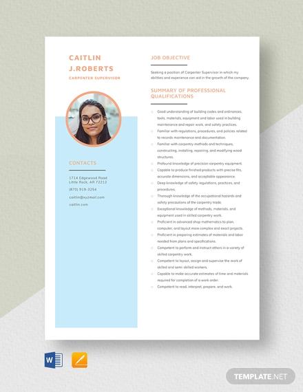 carpenter supervisor resume template1