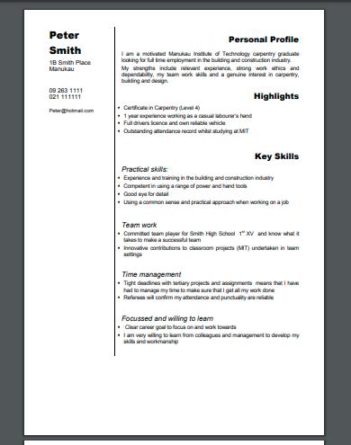 carpentry cv example template
