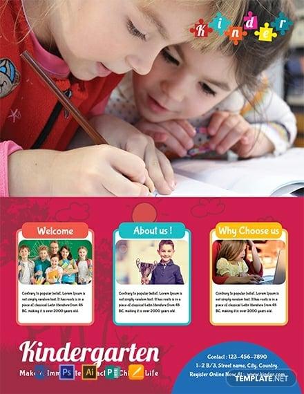 catchy editable kindergarten flyer layout