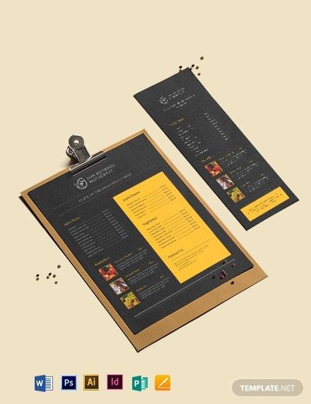 19  restaurant menu templates