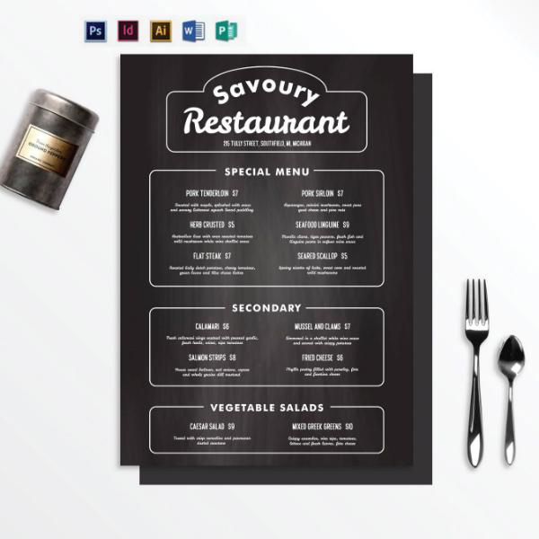 chalkboard theme restaurant menu format