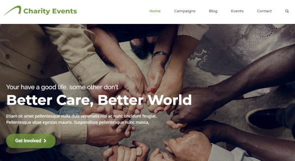 charity events drag and drop option wordpress theme