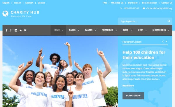 charity hub woocommerce integrated wordpress theme