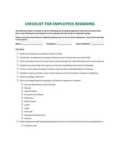 checklist for employee resining