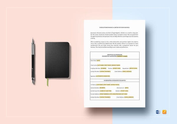 checklist questionnaire for hiring a lawyer template