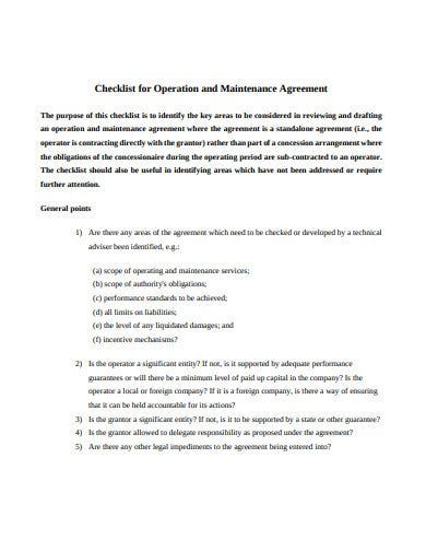 checklist for maintance agreement template