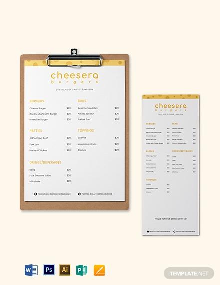 cheese burger menu template1