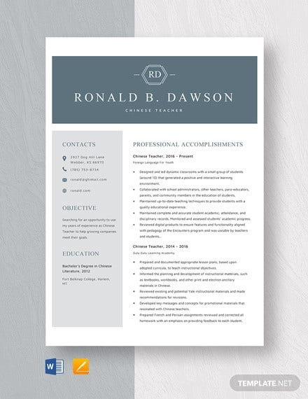 chinese teacher resume template