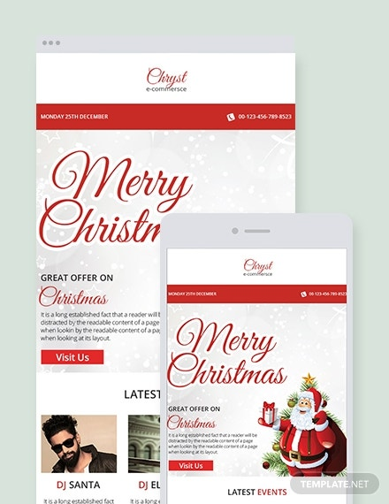 christmas events emaill newsletter template