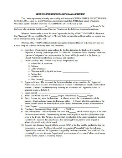 church lease agreement template