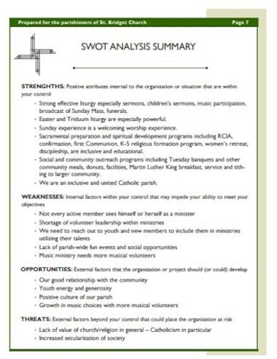 church swot analysis templatedownload