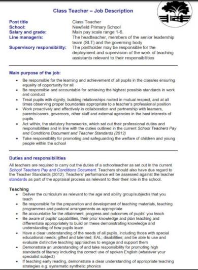 class teacher job description template