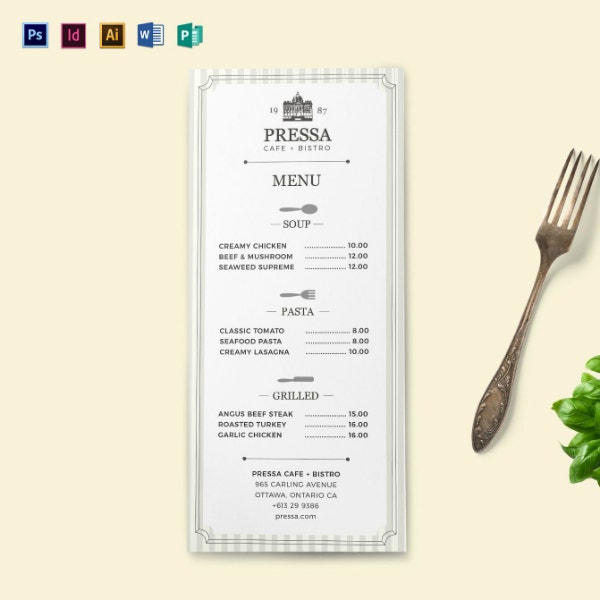 10  editable menu templates