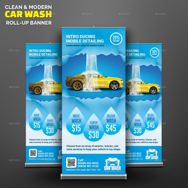 Clean Car Wash Roll-Up Banner