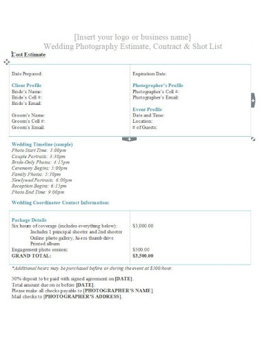 clean wedding photography job estimate template