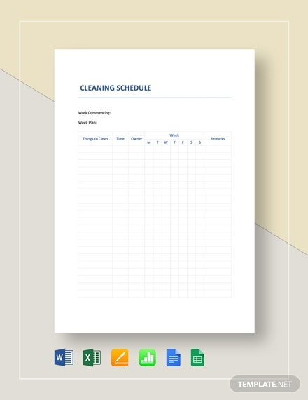 cleaning schedule planner template