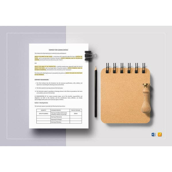 cleaning services company contract template
