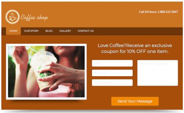 coffee shop custom wordpress theme