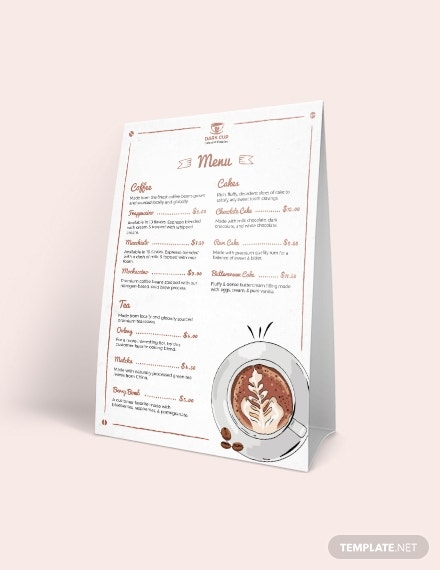 coffee shop table tent menu template