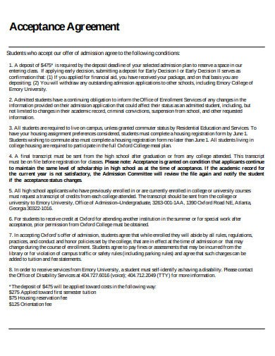 college acceptance agreement example