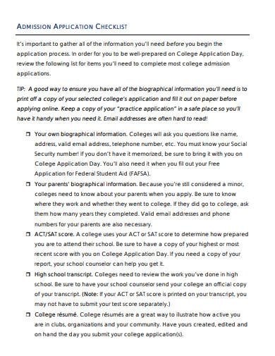 college-admission-application-checklist