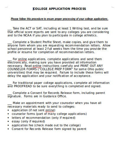college application resume process
